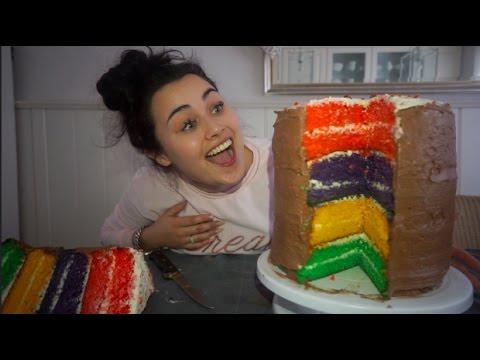 Mega Rainbow Taart maken 2