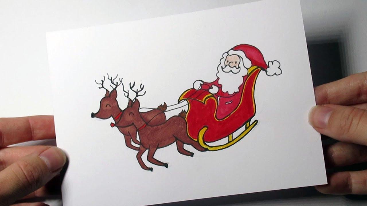 Een vrolijke kerstkaart tekenen in stappen! (Kerstman op slee!) 1
